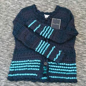 Oscar de la Renta Woven Crochet Silk Cardigan NWT